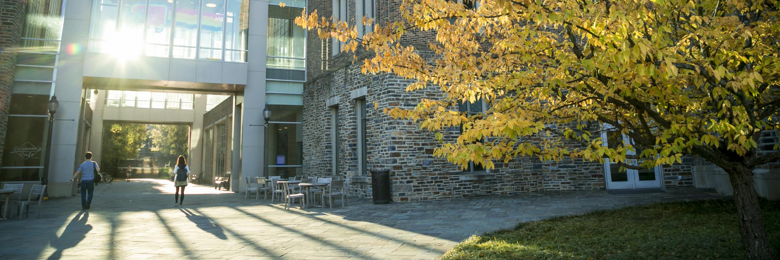 The Fitzpatrick Center at Duke University in autumn.